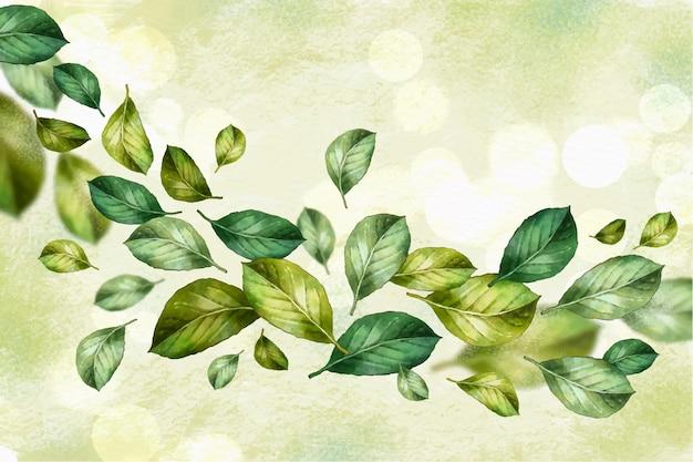 Watercolor green leaves falling