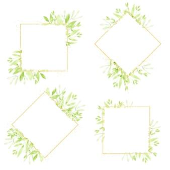 Коллекция рамок венок с золотыми блестками и зелеными листьями
