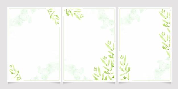 Акварельные зеленые листья на всплеске