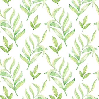 Watercolor green leaves seamless pattern