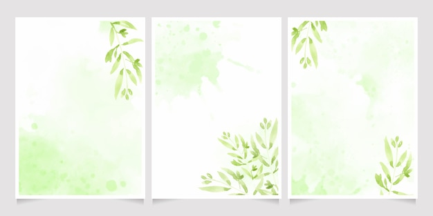 Watercolor green leaves on splash background wedding or birthday invitation card template collection