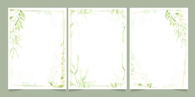 スプラッシュ背景の結婚式や誕生日の招待カードテンプレートコレクションに金色のフレームと水彩の緑の葉