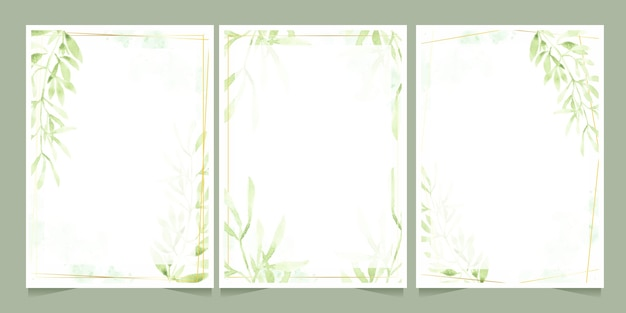 Watercolor green leaves with golden frame on splash background wedding or birthday invitation card template collection