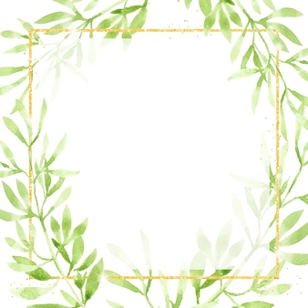 金色のキラキラの正方形のフレームと水彩緑の葉