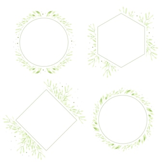 Watercolor green leaves wreath frame collection for logo