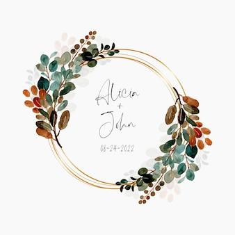Watercolor green leaves wreath with golden frame