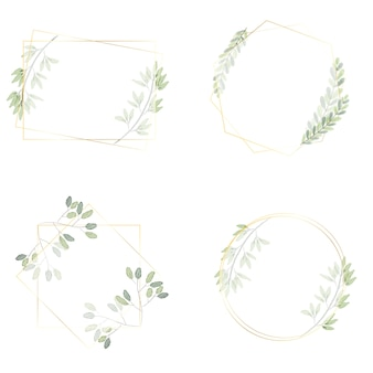 Watercolor green leaves wreath with luxury golden frame collection