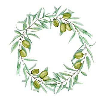 Watercolor green olive tree branch leaves wreath