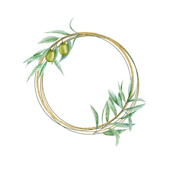 Watercolor green olive wreath, gold frame with olives branch leaves hand painted illustration