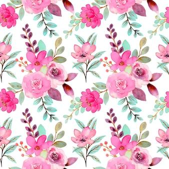 수채화 녹색 분홍색 꽃 원활한 패턴