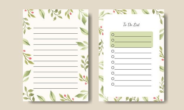 Watercolor green plant leaf notes to do list template design printable