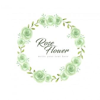 Watercolor green rose flower wreath