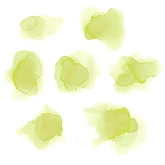 水彩グリーンスプラッシュセット。アルコールインクのテクスチャ。抽象的なカラフルな背景。手描きの水彩テクスチャ