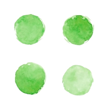 Watercolor green stains for eco label.
