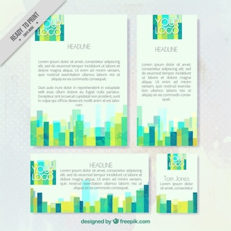 Watercolor green stripes stationery