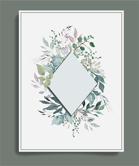 Watercolor green vintage leaves around diamond frame background