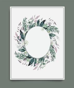 타원형 프레임 배경 주위에 수채화 녹색 빈티지 나뭇잎