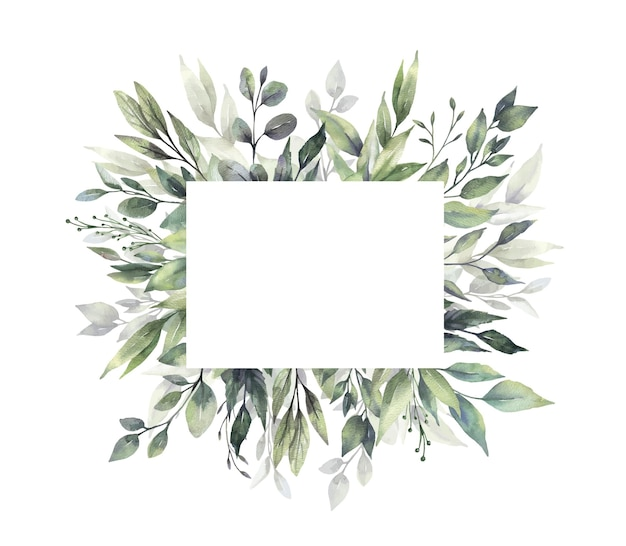 Акварель зелень рамка