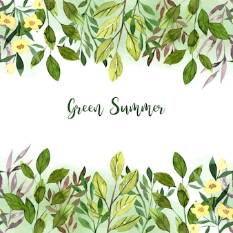 Watercolor greenery seamless borders, hand drawn vector
