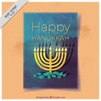 Watercolor greeting card with candelabra for hanukkah