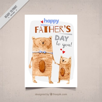 Watercolor greeting card with cute bears for father's day