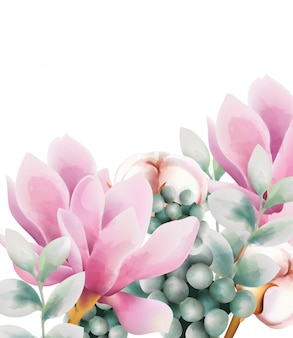 Watercolor greeting card with flowers