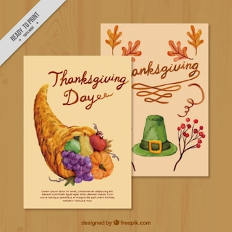 Watercolor greeting cards of thanksgiving