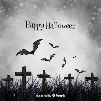 Watercolor grey halloween background