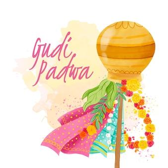 Watercolor gudi padwa with colorful decorations