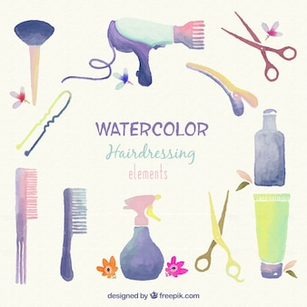 Watercolor Hairdressing Elements