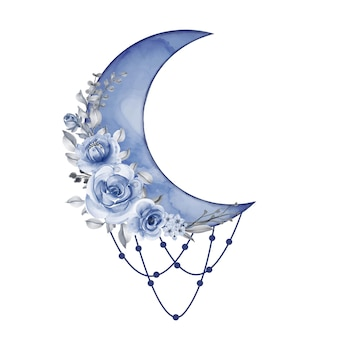 Watercolor half moon in blue shade with flower
