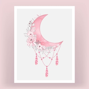 Watercolor half moon in bright pink shade with flower