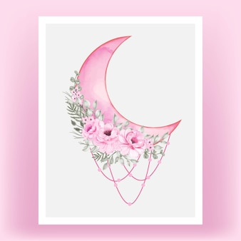 Watercolor half moon pink shade with rose flower