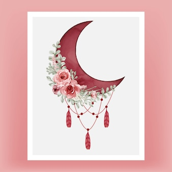 Watercolor half moon in red burgundy with flower