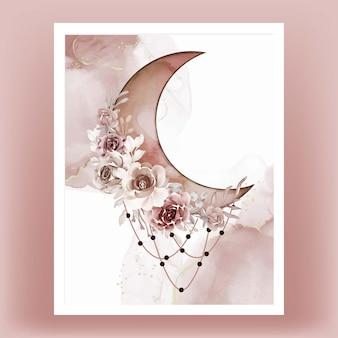 茶色のテラコッタの花と水彩の半月