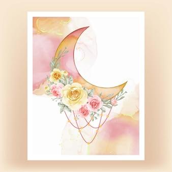 黄色い桃の花と水彩の半月