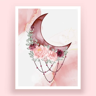 Watercolor half with rose pink and burgundy flower