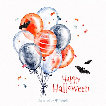 Watercolor halloween background with balloons and bats