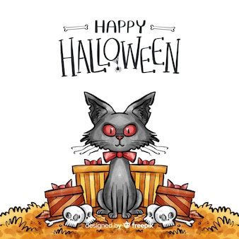 Watercolor halloween background with black cat