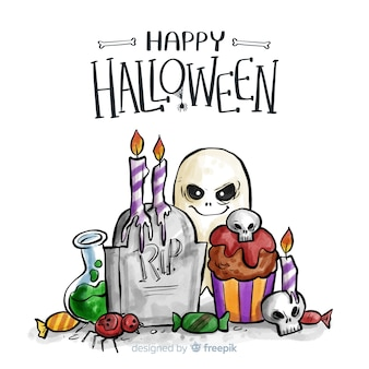 Watercolor halloween background with creepy elements
