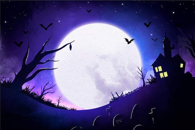 Watercolor halloween background with moon and haunted house