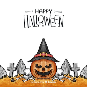 Watercolor halloween background with pumpkin and tombstones