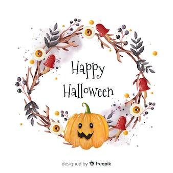 Watercolor halloween background with pumpkin
