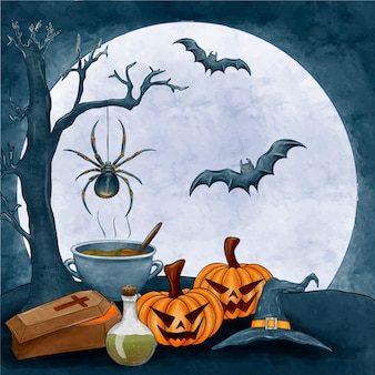 Watercolor halloween background with pumpkins and bats