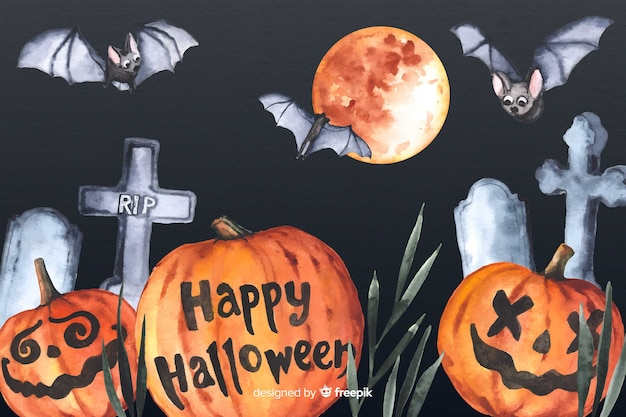 Watercolor halloween background with pumpkins and crosses