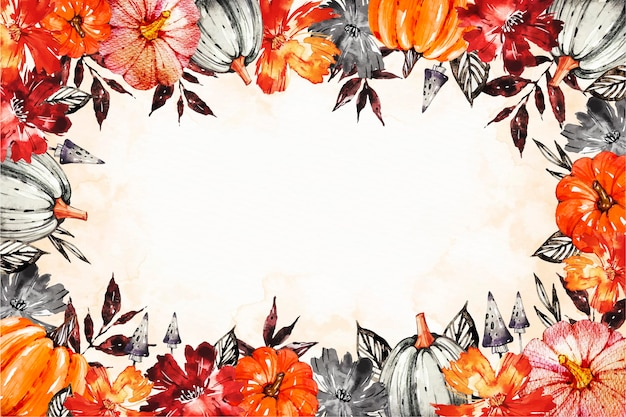 Watercolor halloween background with pumpkins and flowers