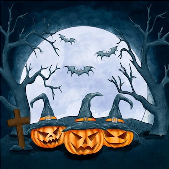 Watercolor halloween background with pumpkins