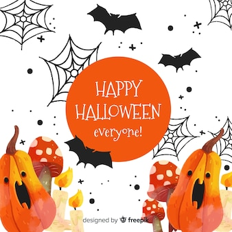 Watercolor halloween background with scared pumpkins