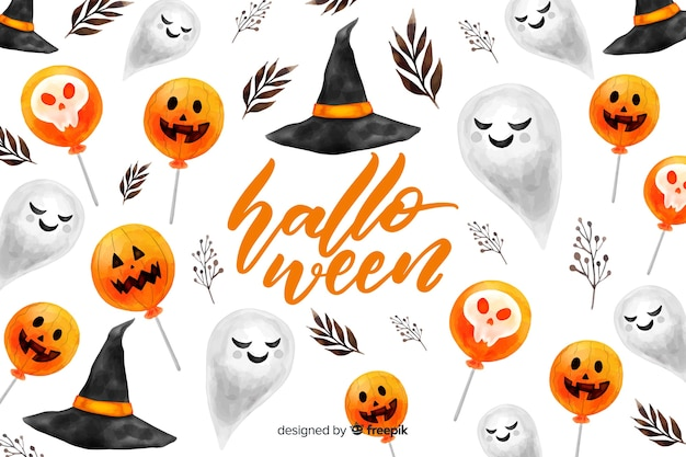 Watercolor halloween background