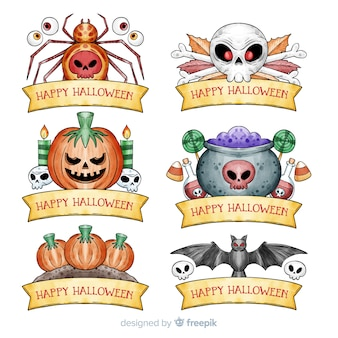 Watercolor halloween badge collection
